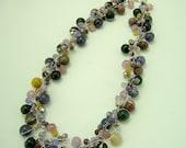 Purple amethyst,crystal on silk thread necklace