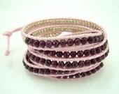 Rose stone tomarine,silver beads on leather bracelet