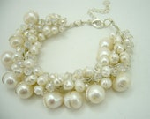 wedding bridal white freshwater pearl,crystal bracelet