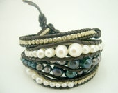 Dark grey and white freshwater pearl,silver beads wrapped leather bracelet.