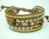 Brow carnelian,CZ setting wrapped leather bracelet.