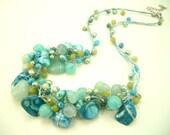 Blue shell,aventurine,freshwater pearl on silk thread necklace.