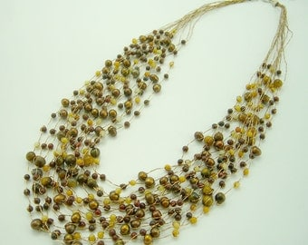 Natural freshwater pearl,tiger eye,jade with gold color multi strand silk necklace.