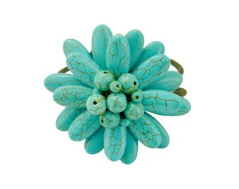 Flower turquoise with wax cotton on wire bangle
