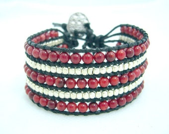Five row red coral bracelet