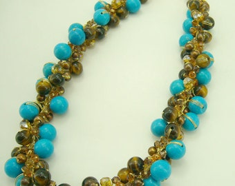 Turquoise,tiger eye,crystal on silk thread necklace