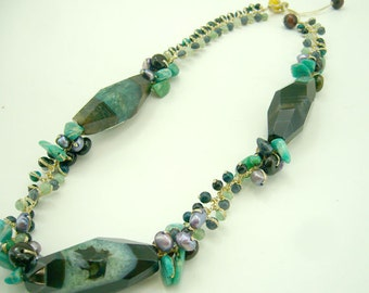 Green agate,freshwater pearl necklace