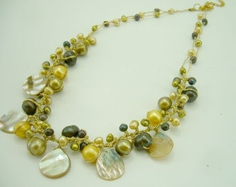Yellow freshwater pearl knitting crochet necklace