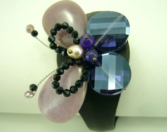 Butterfly amethyst crystal,onyx leather bangle