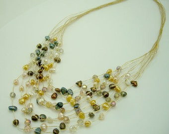 Brown freshwater pearl,crystal hand knotted on silk thread necklace