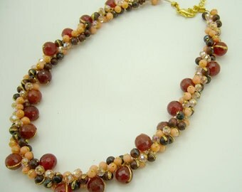 Carnelian,tiger eye,crystal hand knotted on silk thread necklace.