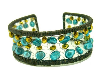 Blue freshwater pearl,crystal benging stainless steel wire wax cotton bangle