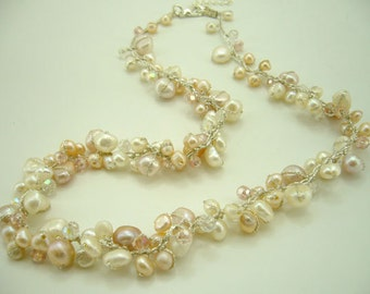 light peach freshwater pearl,crystal hand knotted on silk thread necklace.