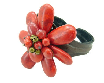 Red coral,brass bell leather on wire bangle