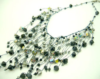 Jet crystal,smoky quartz hand-knotted on silk thread necklace