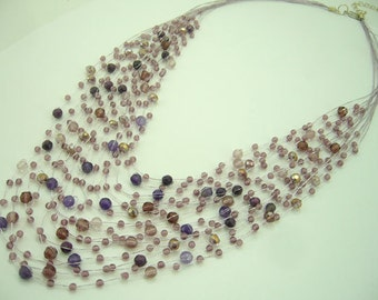 Amethyst,crystal,freshwater pearl multi strand hand-knotted on silk thread necklace.
