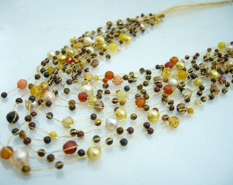 Multi brown freshwater pearl,crystal,carnelian on silk thread necklace
