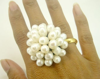 Flower white freshwater pearl knitting wax cotton ring