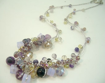 Multi purple Amethyst,crystal hand-knotted silk thread necklace.