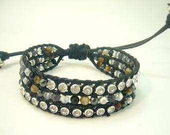Carnelian,CZ,crystal wrap thread leather bracelet.