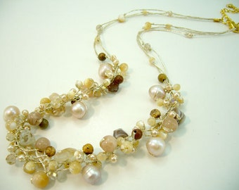 Ivory freshwater pearl,agate,jasper hand-knotted silk thread necklace.