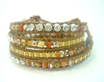Carnelian,crystal ,CZ,jasper,beads,silver charm closure wrapped leather bracelet