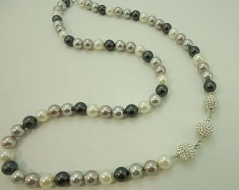 Freshwater pearl shell multi brown color necklace