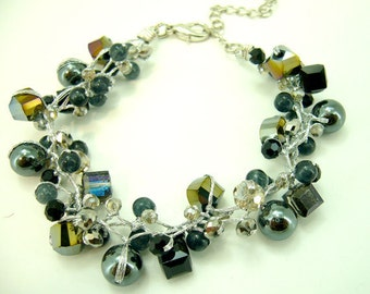 Hematite,black onyx,crystal hand-knotted on silk thread bracelet.