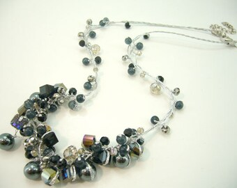 Hematite,black onyx,crystal hand-knotted on silk thread necklace.