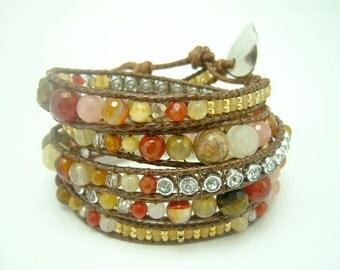 Long wrapped bracelet with carnelian,cZ,beads,tiger eye,jasper