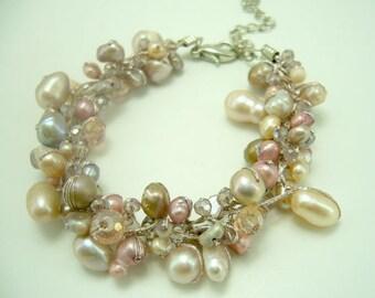 Pink color,crystal silk bracelet.