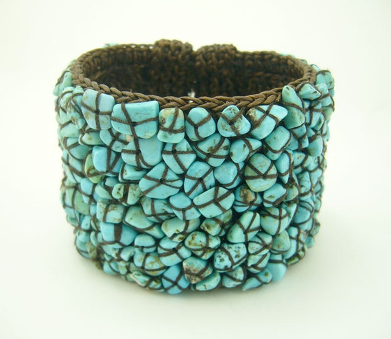 Knitting crochet with wax cotton blue turquoise bangle