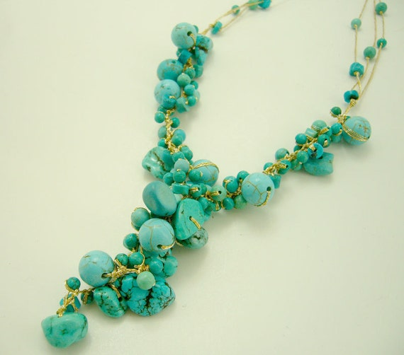 Blue turquoise with gold silk thread necklace