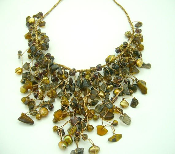 Brown freshwater pearl,tiger eye,smoky quartx hand knotted on silk thread necklace.