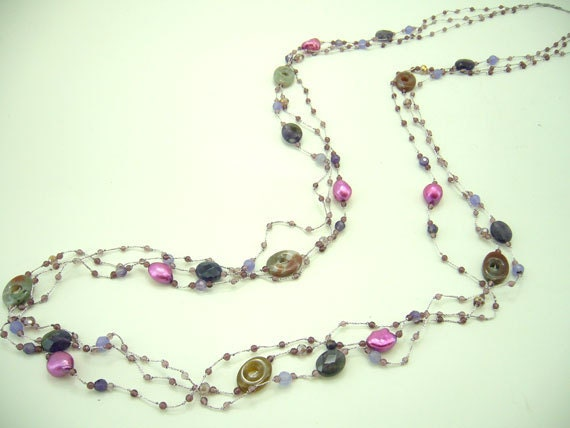 Long necklace purple amethyst,crystal hand knotted on silk thread.