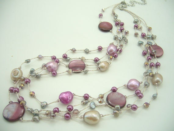 Purple freshwater pearl,shell,crystal hand knotted on silk thread necklace.