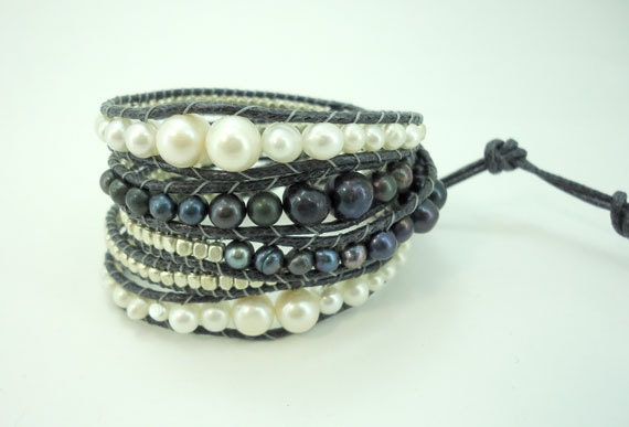 Black and white silver beads wrapped bracelet.