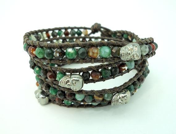 Skull green agate,carnelian wrapped silver charm bracelet
