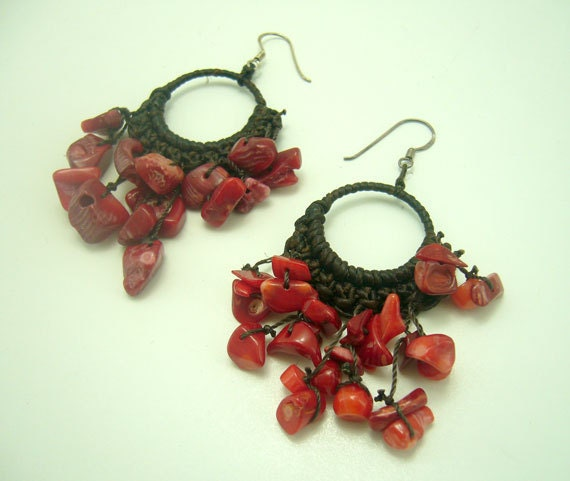 Red coral crochet wax cotton cord earring hoop.