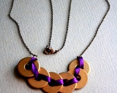 Braided washers NECKLACE with antique bronze chain - handmade: Choose your colour