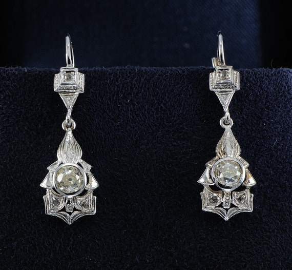 Art Deco solitaire diamond and more rare drop earrings