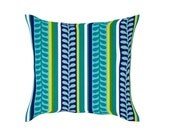 """Blue Outdoor Pillow Covers Blue/Green Striped  Pillow Covers 16 x 16"""" or 17 x 17"""" or 18""""x18""""Throw Pillow Covers"""