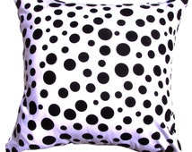 "Black Pillow Cover. Micheal Miller- Black and White Pillow-Black Polka  Dot Pillow Cover  -16x16"" or 17 x 17"""