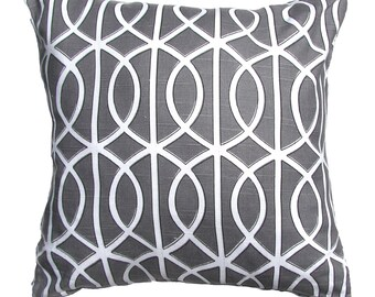 GrayTrellis Pillow-Throw Pillow-Charcoal / White Lattice, Trellis, Link Pillows- 16x16