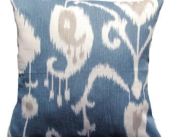 Ikat Blue Pillow Cover - Decorative Ikat  Pillow Cover Throw Pillows- 16 x16