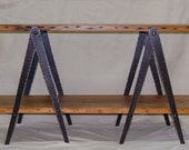 Console Table Hand Forged Hammered Iron With Reclaimed Pine Top and Shelf