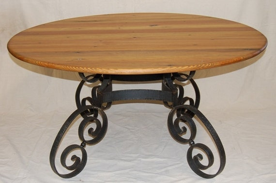 Dining Table Handmade Hammered Iron Rustic Reclaimed Heart Pine Top