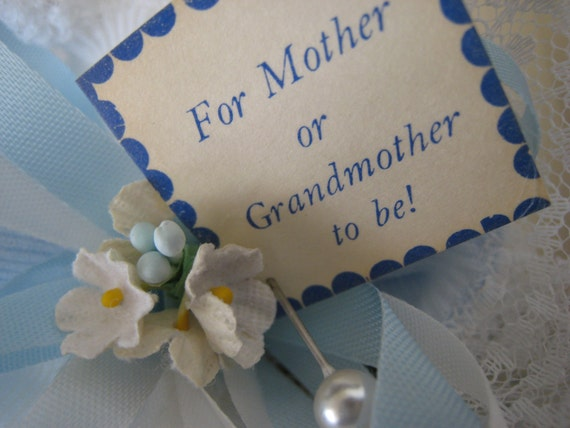 Mother or Grandmother To Be Corsage - White and Blue Lace Trimmed Sock Corsage