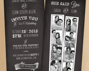 Photo Booth Snapshots Chalkboard Inspired Wedding Invitation Suite Offbeat modern wedding invitation