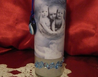 Baby Blessing Blue 7 Day Prayer Candle with Evil Eye